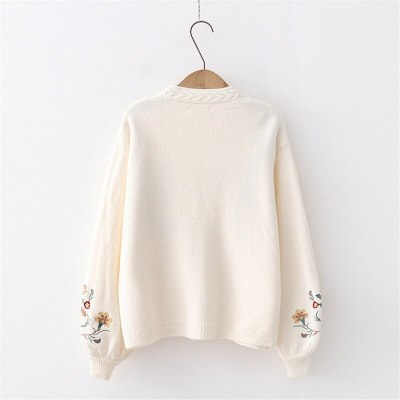 Women Knitted Fashion Cardigan Spring Autumn V-Neck Lantern Sleeve Embroidery Floral Thick Loose Harajuku Female Sweater