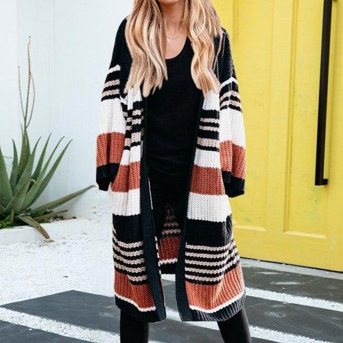 Women Fashion Autumn Color Block Long Lantern Sleeve Cardigan Coat Striped Knitted Sweater Coats