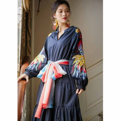 2020 Fashion V Neck Floral Print Bohemia Dress Autumn Ethnic Woman Long Sleeve Elegant Temperament Maxi Long Dresses
