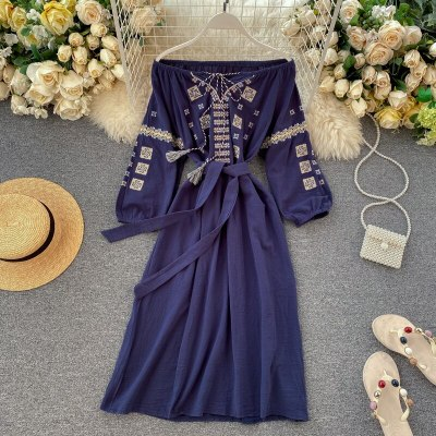 Dress New Vintage Women Heavy Industry Embroidered Off The Shoulder Puff Sleeve Bandage Slim Dresses