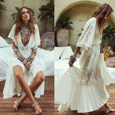 Women's New Cotton Lace Dress Beach Style Sweet Summer Dress Solid V-neck Ankle Length Holiday Dress