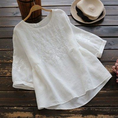 Simple Embroidery Blouse Women  Loose  Tops
