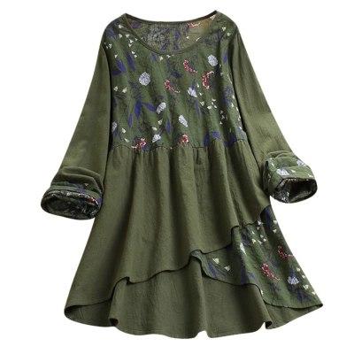 Women Casual Loose Long Sleeve Tunic Shirt Blouse Unregular Tops