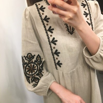 Embroidery Vintage Women Maxi Dress Long Sleeves V Neck Casual Loose Fashon Spring Summer Dresses Chic Vestidos