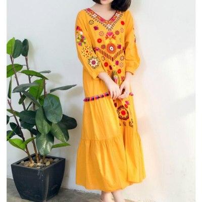 Women Vintage Floral Embroidered Long Dress V-Neck Ruffles Cotton Linen Lantern Sleeved Pleated Beach Dress