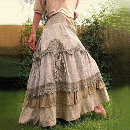Women's Skirts Summer Vintage Ruffles Maxi Skirts New Lace Long Skirts Low Waist Prairie Chic Dropped Skirt
