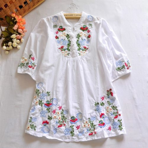 Vintage 70s Women Dress Floral Embroidered Boho Blouse Blusas