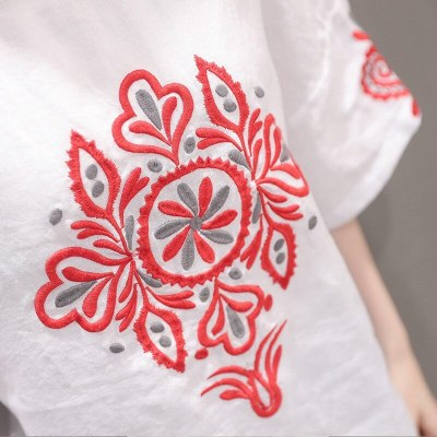 Linen Cotton Tops Embroidery Sleeve T-shirt Female Casual Top Tee