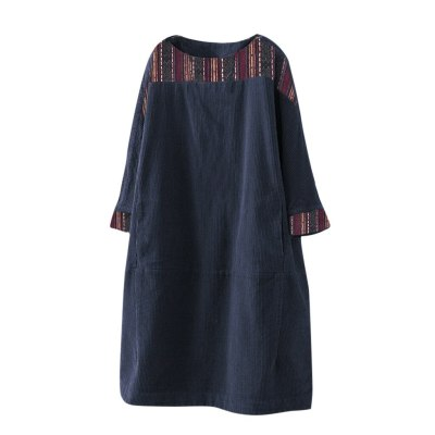 Fashion Women Vintage Corduroy Ethnic Print Patchwork Dress Casual Long Sleeve Pockets Loose Dress
