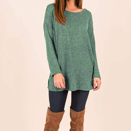Women  Shirts Loose  Button Side Long Sleeve Sweater
