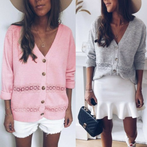 Casual Knitted Sweater Cardigan Button Tops Autumn Winter Warm Long Sleeve Sweater