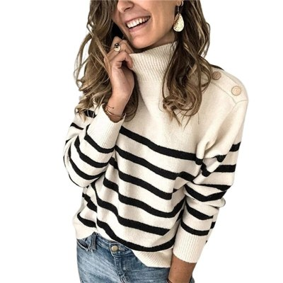 Pullover Loose Tops and striped Casual loose knitted sweater
