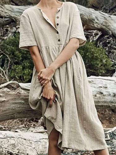 Women's Solid Straight Mid-calf Dress Casual Minimalist Button Short Sleeve Cotton And Linen Dress Vestidos Verano 2020 #T2G