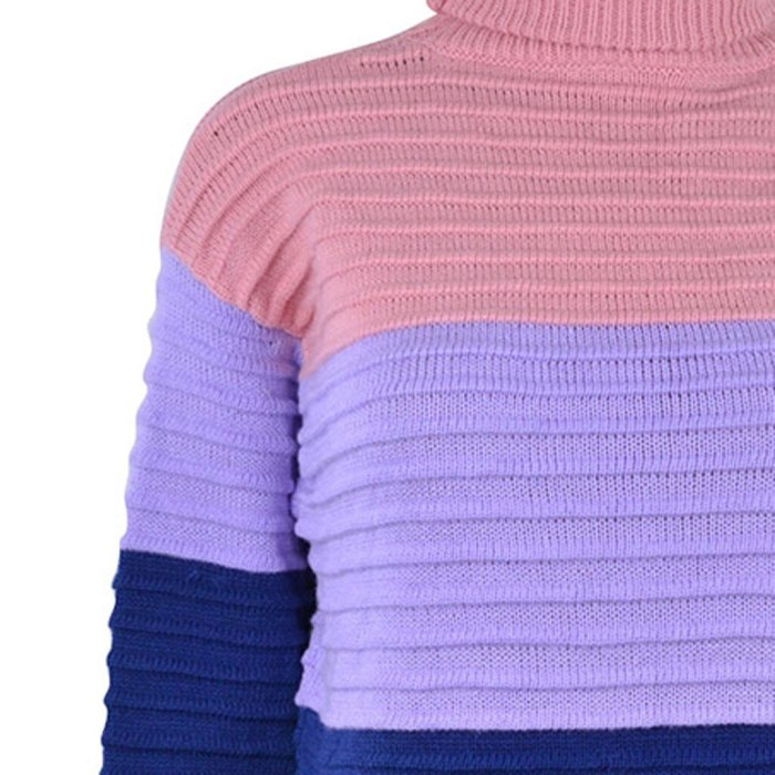 Sweater Women Sexy Vest Knot O-Neck Sweater Knitwear Patchwork Top