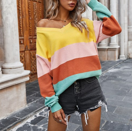 Stripe Woman Sweaters Casual Long Sleeve V Neck Color Block Sweater Matching Tops