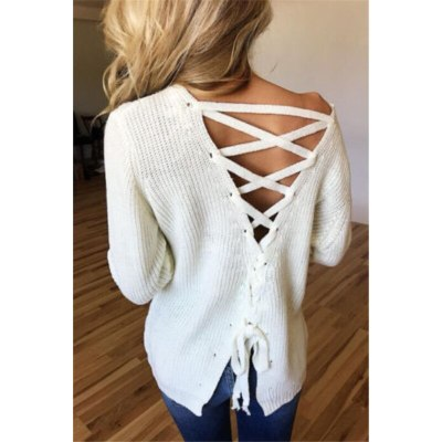 New Long Sleeve Knitted Back Lace-up Loose Knit Pullovers Sweater