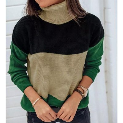 Women Patchwork Sweaters Winter Clothes Work Office Casual Knitted Pullovers Fashion Sexy Loose Contrast Color Knitwear