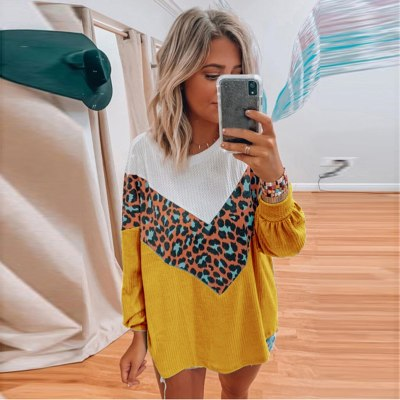 Leopard Print Woman Sweaters Comfortable Long Sleeve O-neck Pullover Tops Loose Sweater Femme Chandails