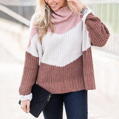 Turtleneck Patchwork  Loose Casual Sweater