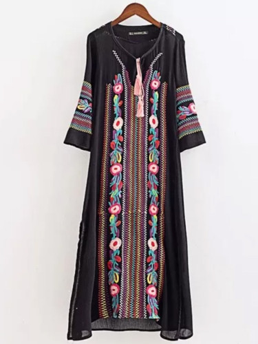 Women Vintage Floral Embroidery Dresses Vestido Round Neck Long Sleeve Casual Long Maxi Dress