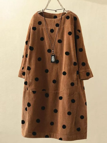 Corduroy Dress Fashion Women O-Neck Long Sleeve Dot Printed Loose Casual Dress Winter Dress