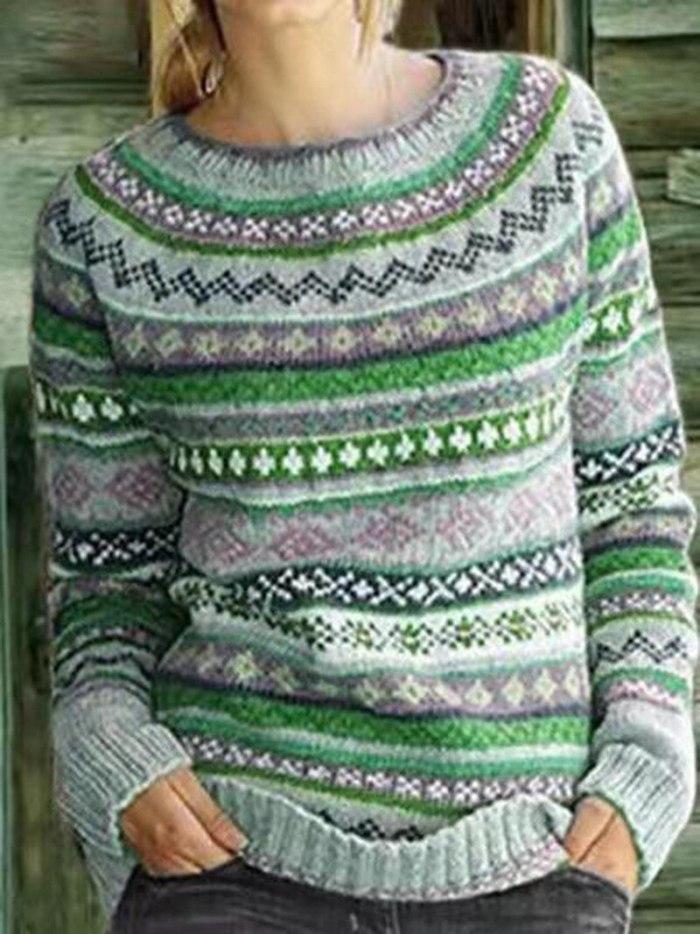 Ladies Fashion Casual Round Neck Vintage Jacquard Sweater