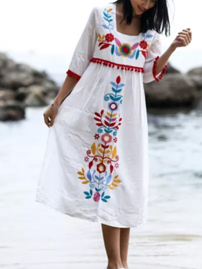 Vintage Chic Women Linen Cotton Floral Embroidery Loose Dress