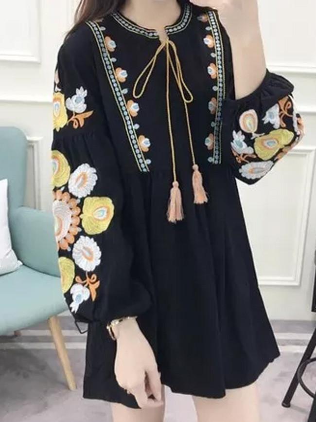 Women Embroidery Dress Long Sleeve Autumn Dress