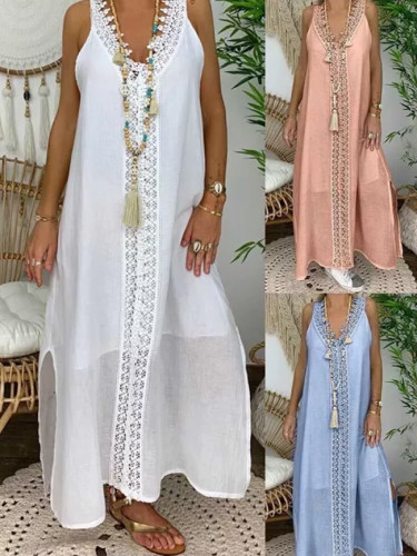 Women Solid Color V Neck Sleeveless Lace Patchwork Slitting Hem Long Vest Dress