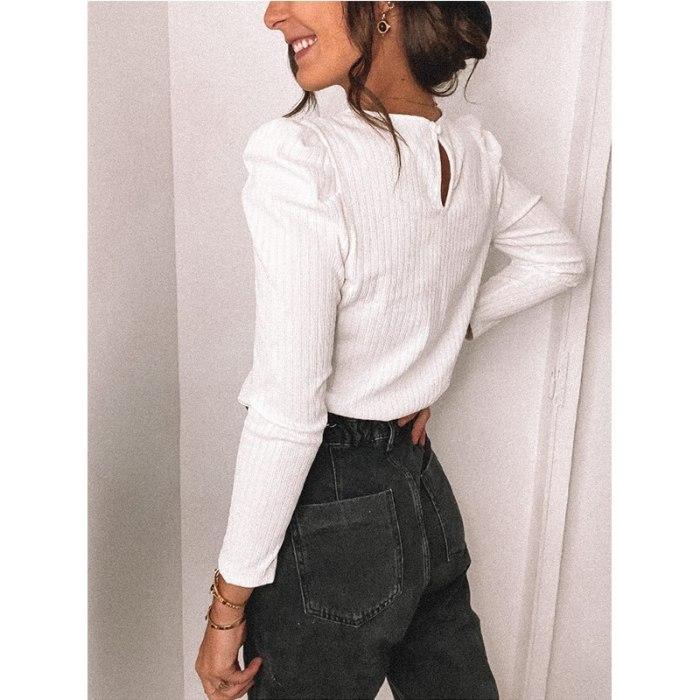 Women Casual Solid Knitwear Crochet Puff Long Sleeve Knit Tops