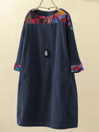 Women Vintage Corduroy Ethnic Print Patchwork Long Sleeve Pockets Loose Dress