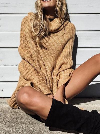 Women Knitwear Stylish Irregular Turtleneck Sweater