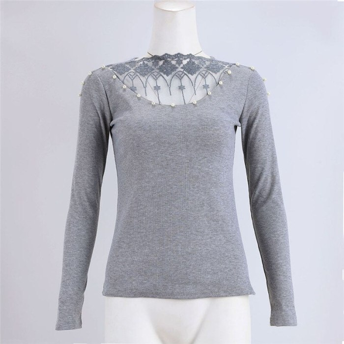 Fashion Women Lace Patchwork Knitted Sweater