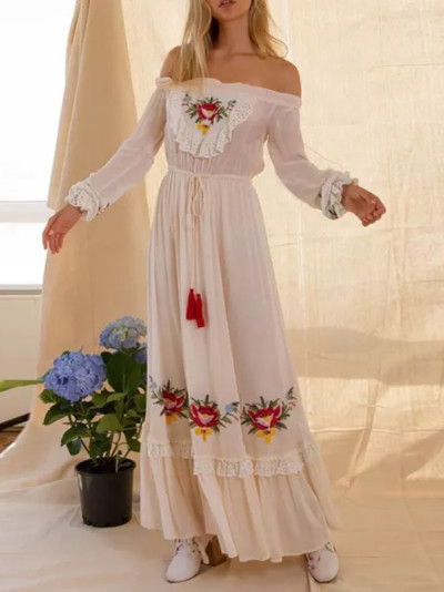 Floral Embroidered WhiteAutumn Women Tassel Lace Patched Ruffle Trim Belted Maxi Dress