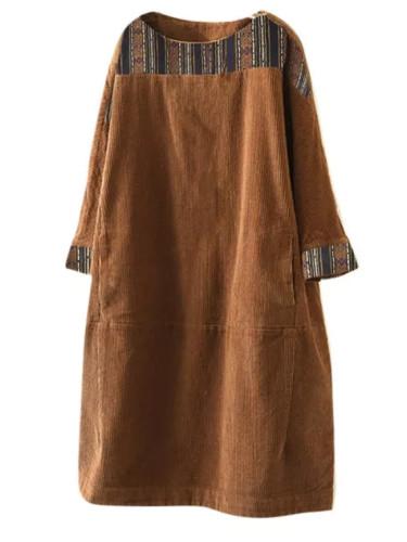 Fashion Women Vintage Corduroy Ethnic Print Patchwork Dress Casual Long Sleeve Pockets Loose Dress