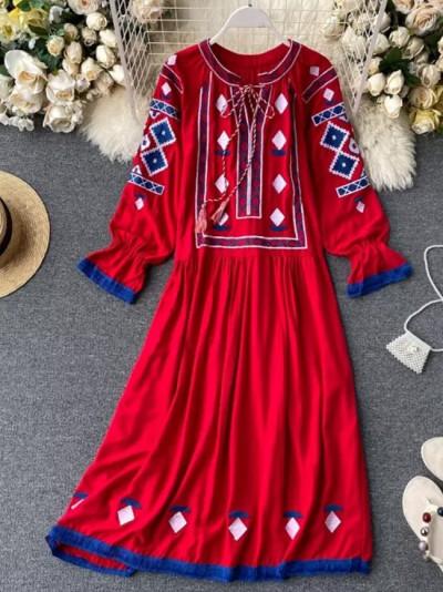 Summer O-Neck Long Sleeve Vintage Embroidery Dresses Elegant Long Robe