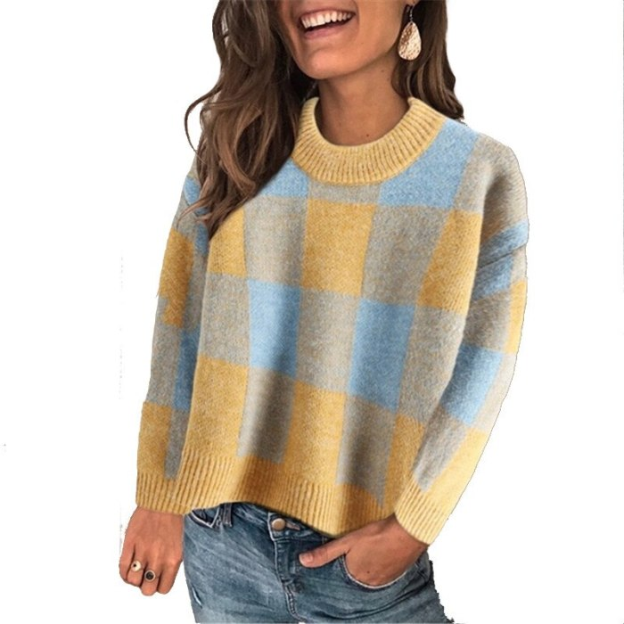New Autumn Casual Sweater Plaid Long Sleeve Knitted Jumpers