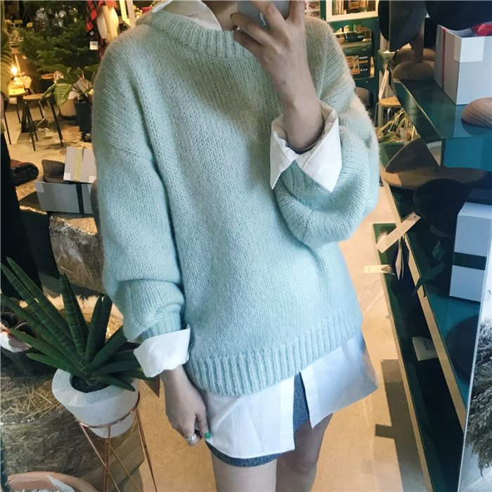 Autumn Winter Solid Pullover Sweaters Korean Style Knitted