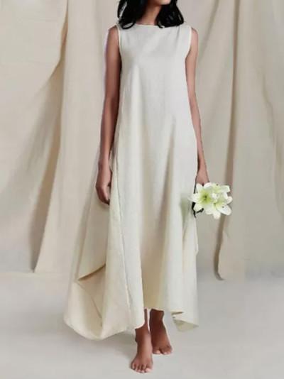 Fashion Cotton Linen Maxi Dress Casual Vestido Female Solid Robe