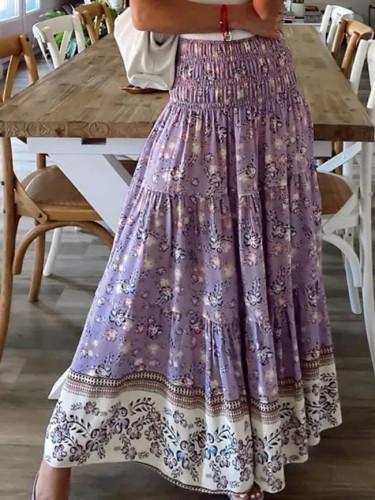 New Women's Printing Skirts Elastic High Waist Long Skirt Floral Pleated A-line Boho Skirts