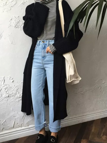 Fashion Long Cardigan Women Loose Knit Sweater Casual Black Coat Autumn