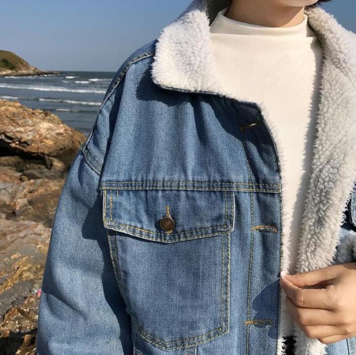 New Loose Cotton Coat Lamb Hair Denim Velvet Padded Padded Jacket
