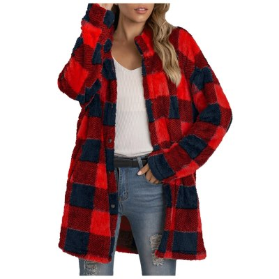 Autumn Winter warm Jacket Christmas Plaid Printing Long Sleeve Buttons Plush Cardigan Coat