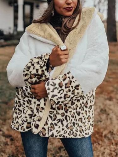 Winter Leopard Print Mid-Long Patchwork Long Sleeve Warm Woman Outerwear