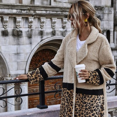 Autumn and Winter New Casual Leopard Print Length Loose And Comfortable Plush Women's Jacket