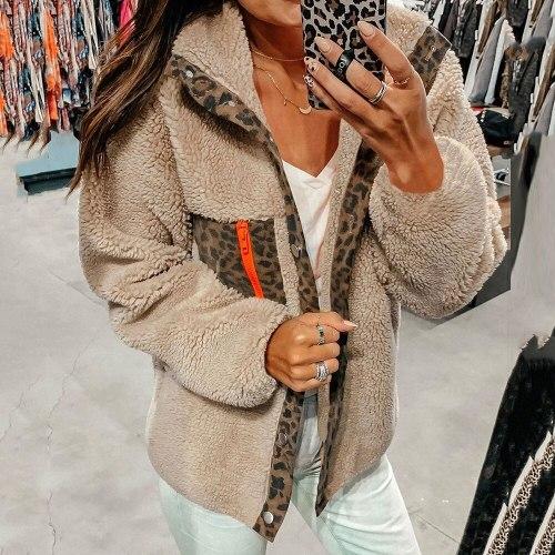 Women Fleece Leopard Print New Year Winter  Plush Warmness Christmas Coats