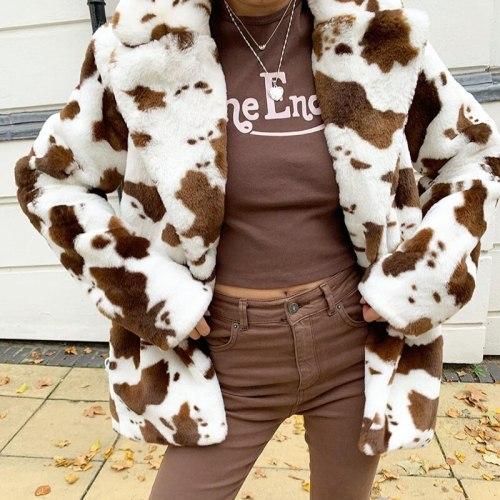 Leopard Print Casual Loose Woman Jacket Winter Streetwear Fluffy Overcoat Fashion