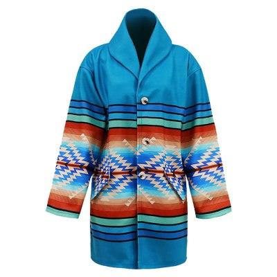 Womens Casual Retro Printed Long Sleeves Lapel Jacket Coat