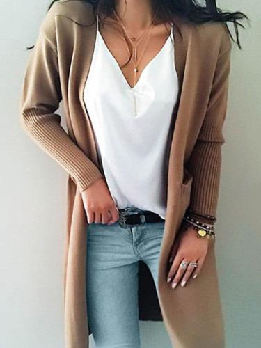 Women knitted long sleeve long sweater cardigan for female women autumn new overcoat outwear