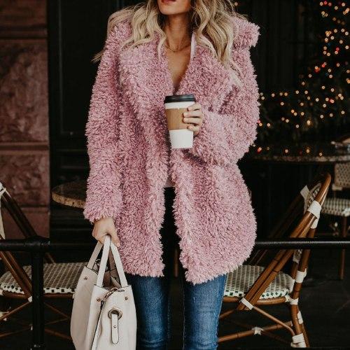 Womens Winter Jacket Ladies Warm Faux-fur Coat Jacket Long Thick Cardigan Outerwear